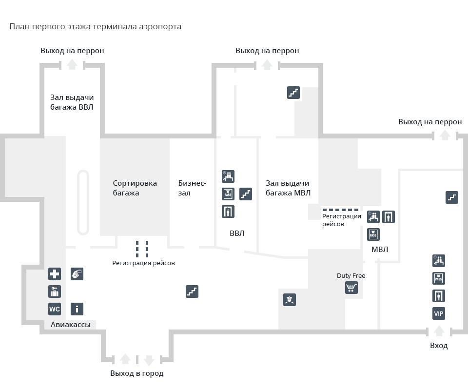 Схема терминала (первый этаж)